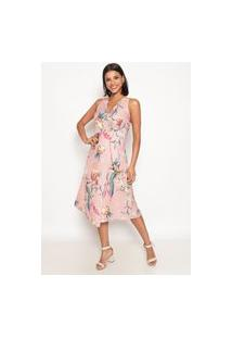 Vestido Estampado Fauna Atelier Lily Daisy Ld002 Rosa