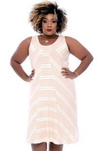 Vestido Básico Listras Laranja Plus Size