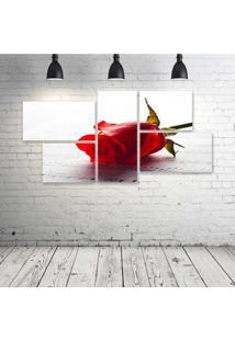 Quadro Decorativo - Red-Rose-And-Music-(2) - Composto De 5 Quadros - Multicolorido - Dafiti