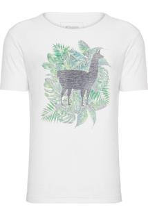 Camiseta Masculina Lhama Folhagem - Branco