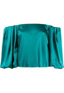 Pinko Off The Shoulder Puffed Sleeve Blouse - Verde