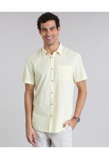 Camisa Comfort Com Bolso Amarelo Claro