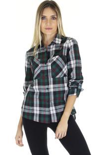 Camisa Aha Manga Longa Xadrez Com Bolsos Frontais E Barra Assimétrica Verde