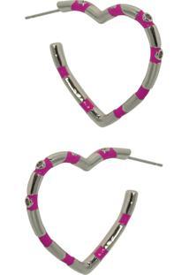 Brinco Infine Argola De Coraçáo Esmaltada Em Rosa Pink Com Zircônia Banhada A Ródio - Tricae