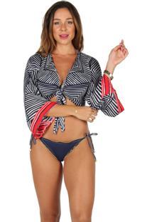 Blusa Cropped Flavia Donadio Beachwear Tulum Estampado Azul Marinho E Branco