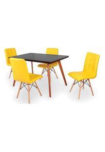 Conjunto Mesa De Jantar Gih 120X80Cm Preta Com 4 Cadeiras Gomos - Amarelo