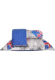 Colcha Ultrassonic Queen Com Porta Travesseiro Britânica