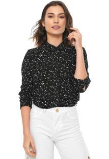 Camisa Facinelli By Mooncity Estrelas Preta