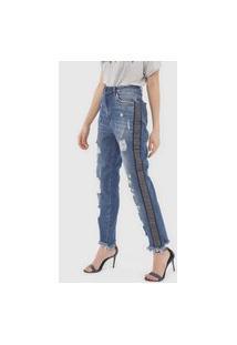 Calça Jeans Lança Perfume Reta Destroyed Azul