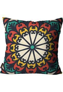 Capa Para Almofada Premium Peluciada Mdecore Mandala Colorido 45X45Cm Vermelho