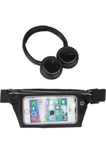 Kit Pochete Esportiva Fitness 5,5 + Headphone Bluetooth - Unissex-Preto