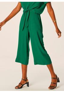 Calça Verde Pantacourt Feminina Em Viscose