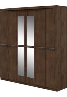 Guarda-Roupa Qualitá Com Espelho - 6 Portas - Imbuia Soft