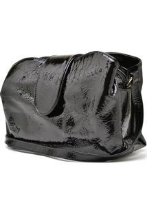 Bolsa De Couro Hendy Bag Com Repartição Verniz Preto - Kanui