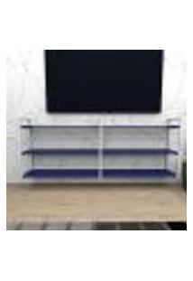 Rack Industrial Aço Cor Branco 180X30X68Cm (C)X(L)X(A) Cor Mdf Azul Modelo Ind32Azrk
