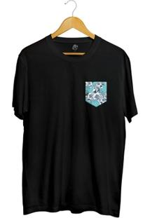 Camiseta Bsc Blue Flowers Pocket Full Print - Masculino