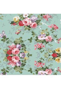 Papel Parede Floral Rosas Com Fundo Turquesa 2,50 X 60 - Tricae