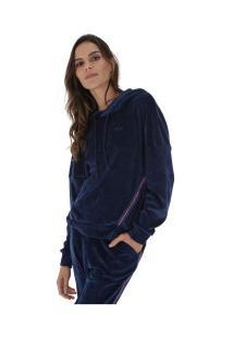 74144cecea0 ... Blusão Com Capuz Fila Plush Taped - Feminino - Azul Escuro