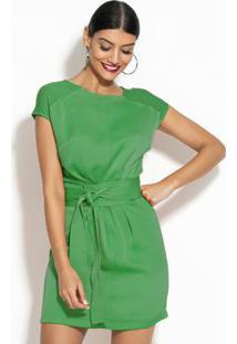 Vestido Com Faixa Verde