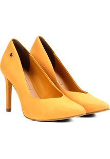 Scarpin Couro Tanara Salto Alto Recorte V - Feminino-Amarelo