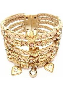 Pulseira Em Couro Alice Monteiro Bracelete Coração Rose Feminina - Feminino-Rose Gold