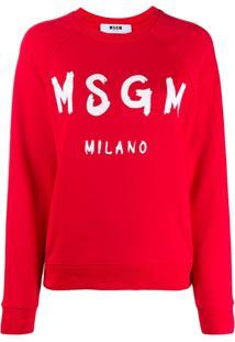 Msgm Suéter Decote Careca Canelado Com Logo - Vermelho