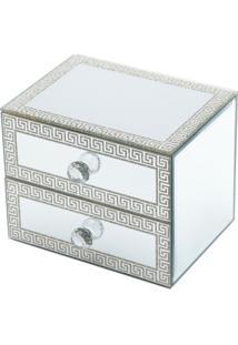Porta Jóias De Madeira Espelhado Glitter Com Duas Gavetas 16X12X12,5Cm - Unissex