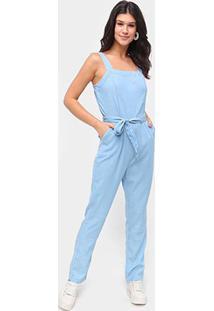 Macacão Jeans Influencer Longo Amarração - Feminino-Azul Claro
