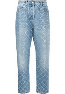 Balmain Calça Jeans Xadrez - Azul