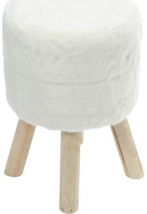 Puff Glamour- Branco & Bege Claro- 46Xã˜33Cm- Or Or Design