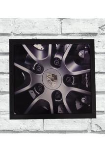 Quadro Decorativo Sala Metal Roda Porsche Cor Preto 40X50X2