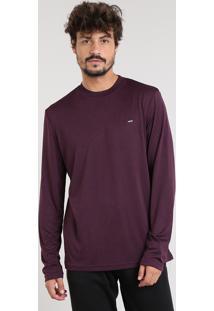 Camiseta Masculina Esportiva Ace Básica Mescla Manga Longa Gola Careca Vinho