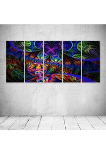 Quadro Decorativo - Abstract Multicolor Fractals Psychedelic - Composto De 5 Quadros - Multicolorido - Dafiti
