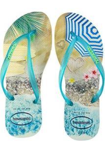 Chinelo Havaianas Slim Paisage Feminino - Feminino-Azul