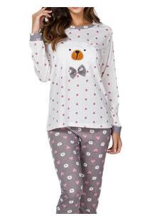 Pijama Longo Corações E Urso Lua Cheia (9350) Poliéster