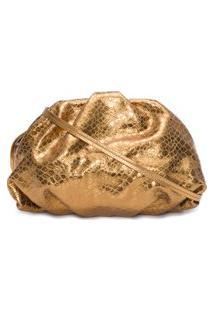 Bolsa Maxi Clutch Avril Croco Metallic - Dourado