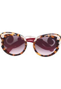 Prada Eyewear Óculos De Sol Oversized - Marrom