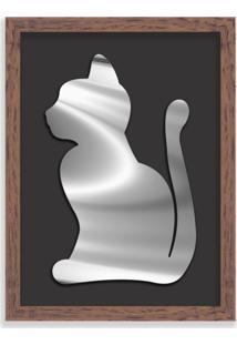 Quadro Decorativo Em Relevo Espelhado Gato Prateado Madeira - Médio