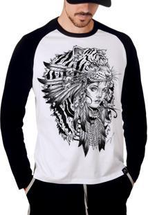 Camiseta Artseries Manga Longa Raglan Índia Tigre Branco