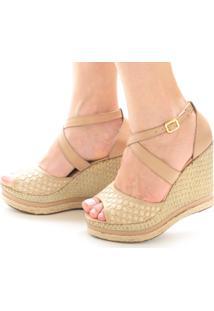 Sandália Anabela Sb Shoes Ref.3207 Bege/Juta - Kanui