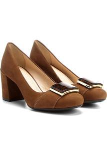 Scarpin Couro Shoestock Salto Médio Acrílico Onça - Feminino-Caramelo