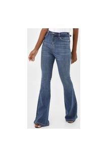 Calça Jeans Guess Flare Estonada Azul