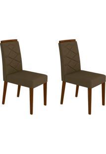 Conjunto Com 2 Cadeiras Caroline Castanho E Marrom