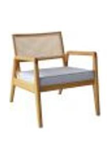 Cadeira Decorativa Para Quarto Sevilha Natural Palha E Tecido