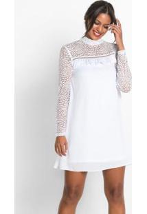 Vestido Com Renda E Babados Branco