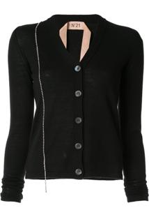 Nº21 Embellished Fitted Cardigan - Preto