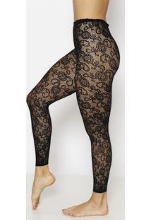 Meia Calça Legging Floral - Preta - Fio 40Trifil