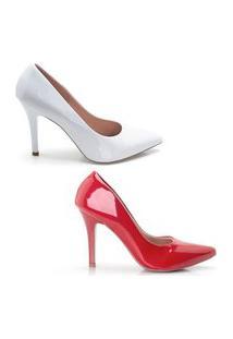 Kit 2 Scarpin Feminino Verniz Confortável Elegante Clássico Bege/Branco 34 Branco