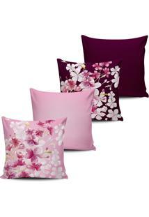 Kit 4 Capas Almofada Estampa Floral Rosa E Vinho 45X45Cm - Tricae