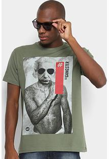 Camiseta Gangster Einstein Masculina - Masculino-Verde Claro